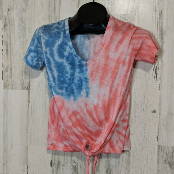Fifth Sun Tops - FIFTH SUN Red White Blue Patriotic Tie Dye Tee Sm